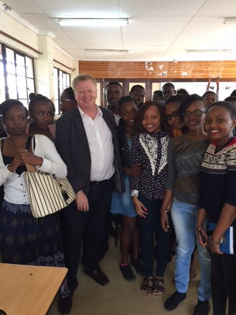 Peter Burdin hosting journalism students fro the Multi Media University in Nairobi.