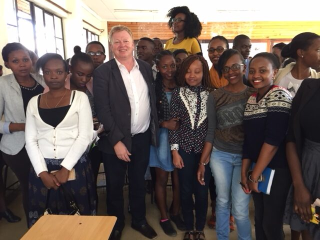 Peter Burdin with Journalism students at Multi Media university in Nairobi.