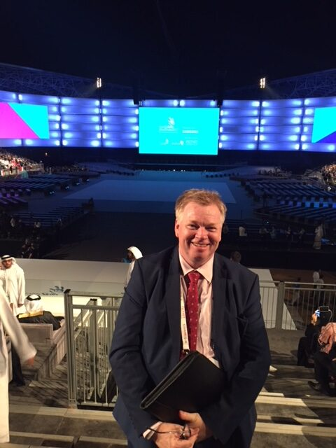 Peter Burdin as the Media coordinator at the Worldskills competition in Abu Dhabi
