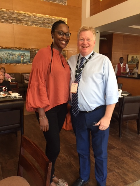 Peter Burdin with Founder of AB2020 and Top 100 BAME Tech leader Akosua Annobil in Accra, Ghana.
