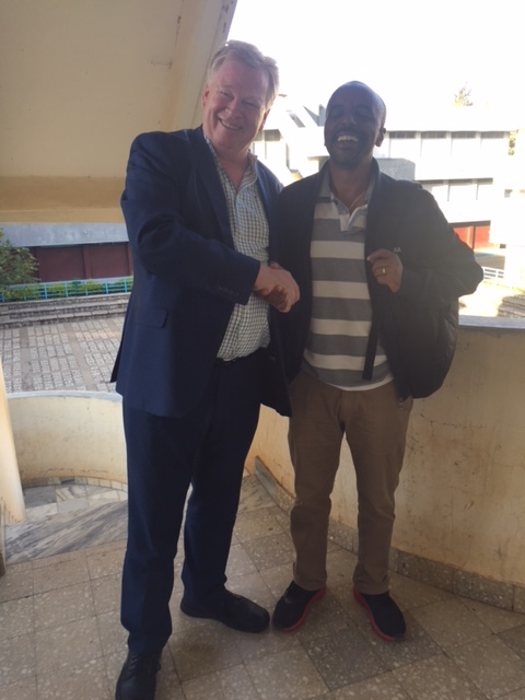Peter Burdin being host by Jemal Mohammed, Head of the School of Journalism at the University of the Blue Nile in Ethiopia.