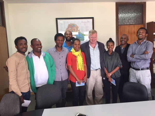 Peter Burdin with Ethiopian journalists in Addis Ababa.