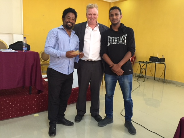 Ethiopia's Amnesty International team led by Samuel Kassahun with Peter Burdin at Adamu media workshop