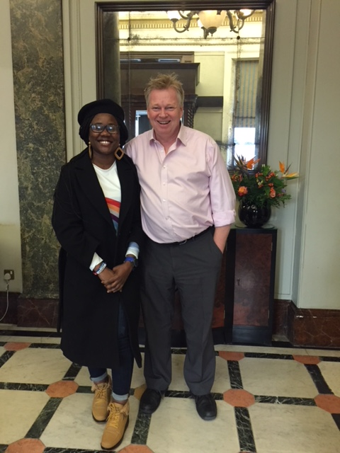 African Peace activist Gwen Myles with Peter Burdin at the Institute of Directors in London