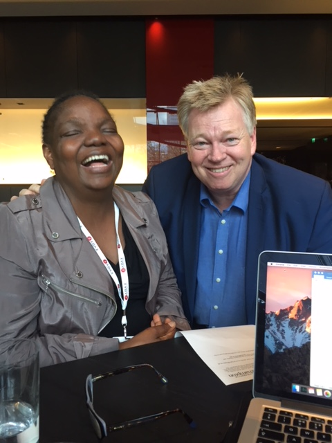 Zimbabwean entrepreneur Nyasha Gwatidzo with Peter Burdin at the Africa Investment summit