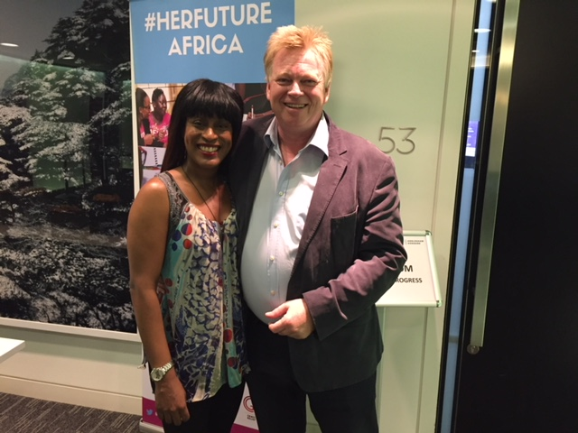 Sophia White of the Brand Design Agency with Peter Burdin at the Her Future Africa symposium