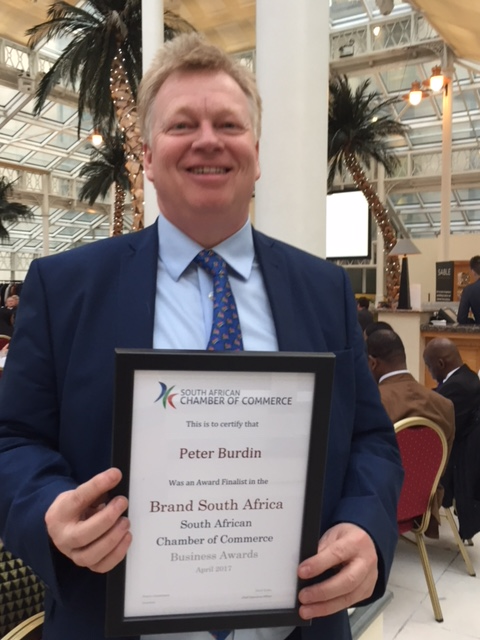 Brand South Africa finalist Peter Burdin at the South African Chamber of Commerce Awards.