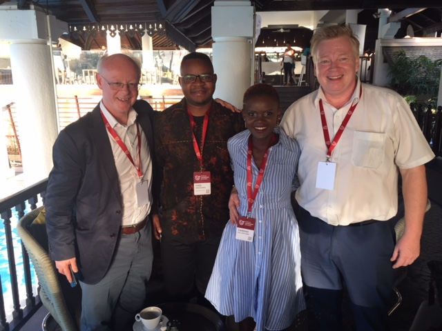 Patrick Dunne of ESSA with Peter Burdin and delegates at the African Leadership annual Gathering in Mauritius.