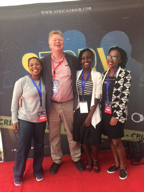 Peter Burdin with the Africa On Air production team in Nairobi