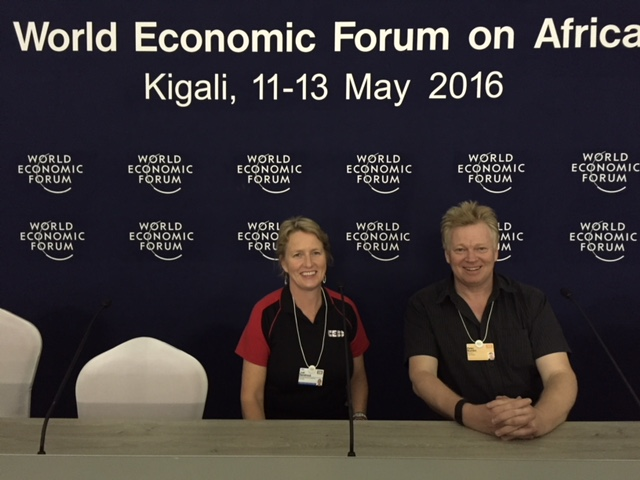 Judi Sandrock the CEO of the Space Tech company Xinabox with Peter Burdin at the World Economic Forum.