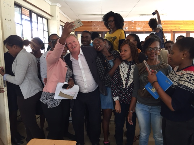 Peter Burdin after a successful Journalism Masterclass at the Multi Media University in Nairobi.