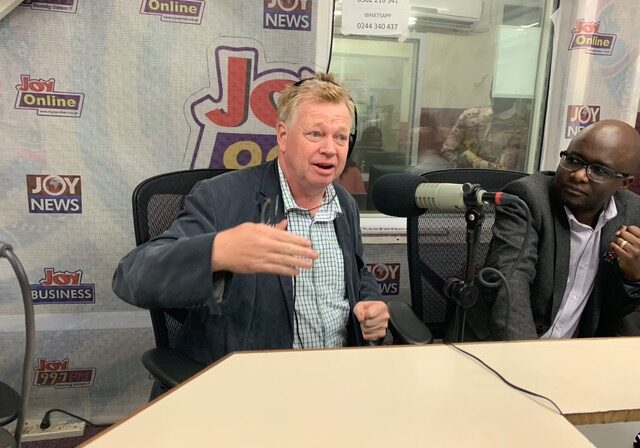 PIC 9 Peter Burdin and George Ogola live on Joy FM