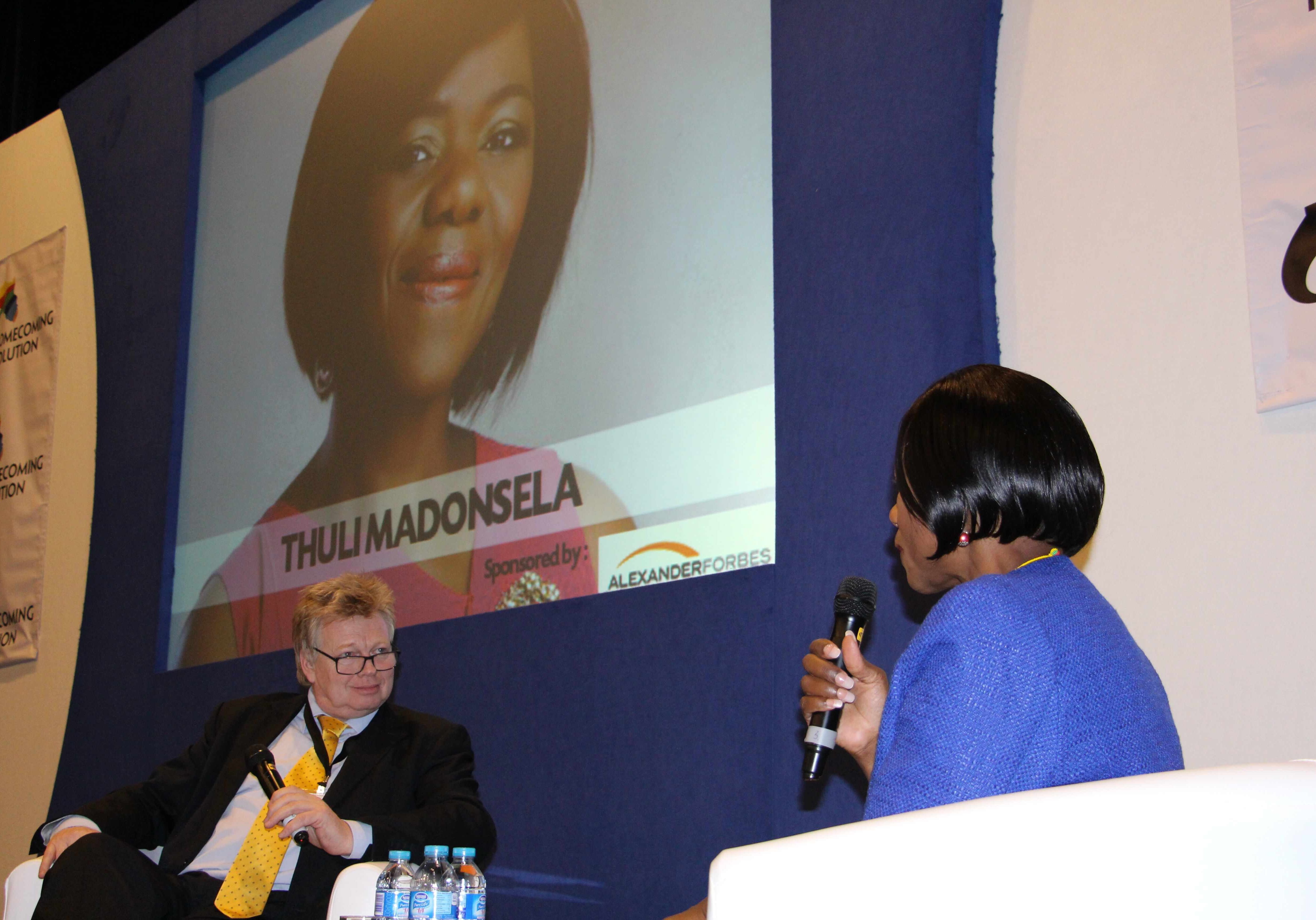Peter-Burdin interviewing the South African Public Protector Thuli Madonsela.